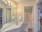 There are 3 bathrooms in this spacious condo.