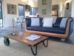 Lounge room with original railway trolly restored by owner