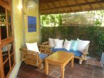 veranda in a secluded corner of the property