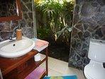 bathroom with hot shower and indoor garden