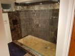 Oversized glass shower with rainfall shower head and hand held wand