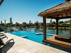 Enjoy relaxing in the spectacular pool with views to Surfers Paradise