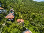 Drone view of your villa with its stunning  jungle views
