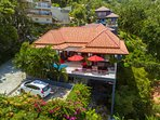 Drone view of your villa with its private car park