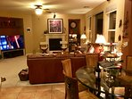 Family room with Samsung Smart HD 65' TV with Comcast Xfinity premium channels and hi speed Wi-Fi