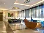Lobby reception with modern intercom system
