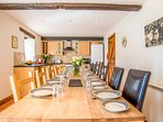 Dining and kitchen for 10 to 17