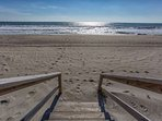 Doesn't take more than a few moments from the home to the beach and you are steps away from your feet in the sand