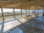 Just off the pool area, there is plenty of room for a picnic in this spacious gazebo overlooking the ocean