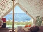 Luxury camping experiences at signature campgrounds in Nova Scotia.