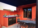 BBQ area with exterior dinning table
