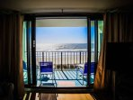 Enjoy the view from the living room or the balcony.