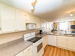 Fully equipped kitchen with full size appliances.  Cookware, dishes and tableware are on hand.