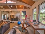 The bonus room offers additional space for guests and fitness equipment.
