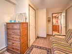 The third bedroom offers a comfortable full-sized futon.