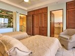 Enjoy balcony  and private bathroom access from this room.