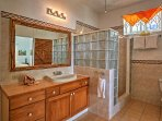 After a day at the beach, rinse off in this walk-in shower.