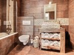 Master ensuite with bath and over bath shower