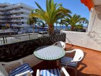 Terrace view. The beach Playa Troya is 50 meters from the apartment.