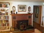 Wood stove in fireplace.