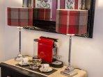 Nespresso coffee machine and complimentary pods. Vera Wang espresso coffee set.