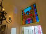 Specially commissioned stained glass internal aperture windows.