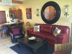 Living Room with Queen Memory Foam Sofa Bed