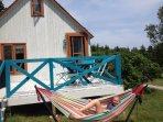 The exterior of our 3-bedroom A-frame cottage (has 2 loft bedrooms)...kids LOVE this cottage