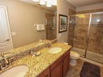 Downstairs Shared Hall Bath w/Walk In Shower & Double Sinks