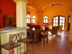 Breakfast bar, dining & living areas