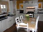 Large kitchen with woodburner, American Style Fridge Freezer, Dishwasher, Washing Machine and more