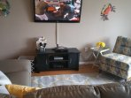 Living Room with brand new leather sectional queen sleeper and chair