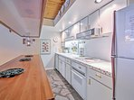Prepare a delectable treat in the well equipped kitchen