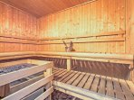 Relax in the community sauna after a day of shredding the powder!