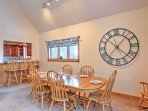 Gather around the dining table or kitchen bar for home-cooked meals.