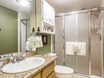 Clean, bright 2nd bath~extra large shower with great water pressure.