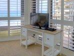 Desk & TV in Master Bedroom