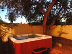 Enjoy the bubbly jacuzzi in the very private backyard oasis