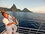 Sunset Land and Sea Cruise with Majestic piton Views