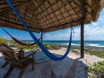Oceanfront palapa with hammocks