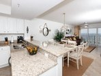 View of the beautifully decorated dining and living areas, with