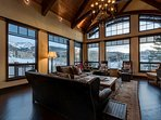 Enjoy views of the mountains from this room's tall windows.