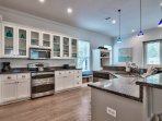 All the counter space and stainless steel appliances make cooking a breeze.