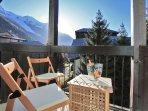 Sunny balcony has views of Mont Blanc