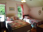 2nd floor bedroom with queen bed and twin bed (window air conditioner)