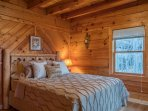 Main level 2nd bedroom with queen new mattress with mountain views