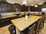 Modern Kitchen w/ Stainless Steel Appliances & Granite Counter Tops; Breakfast Bar for 4