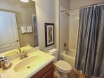 Upstairs Shared Hall Bath w/Shower & Tub Combination