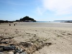 Marazion beach and view of St Michaels Mount