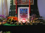 Retreatants can arrange their own shrine. Here is the Longchen Nyingthik refuge tree and offerings.